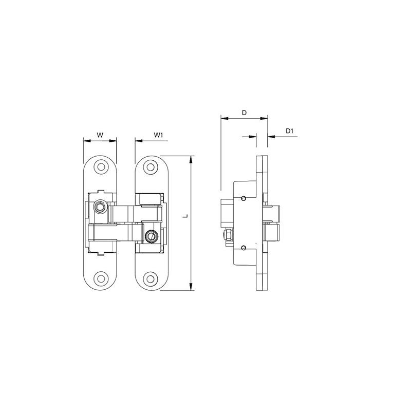 Thông số kỹ thuật bản lề âm 60kg Lawrence AH02