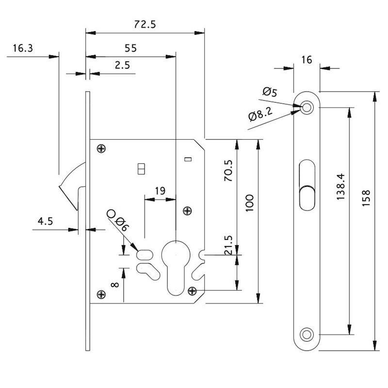Thông số kỹ thuật thân khóa cửa gỗ lùa trượt Lawrence LH6627