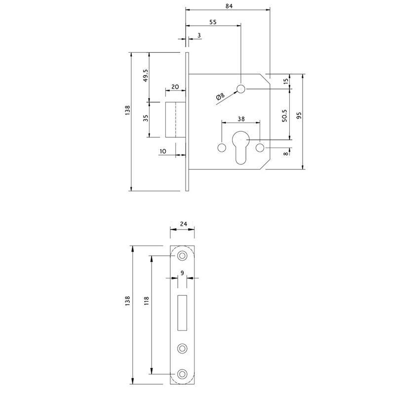 Thông số kỹ thuật thân khóa chốt chết Lawrence LH6609