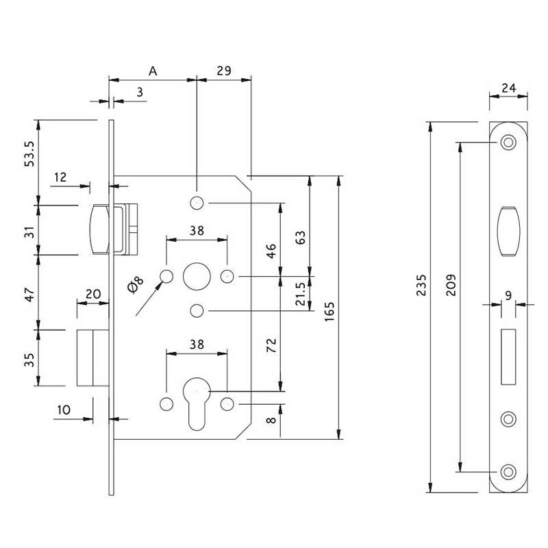 Thông số kỹ thuật thân khóa lưỡi bi cửa gỗ Lawrence LH6603.