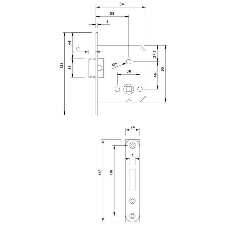 Thông số kỹ thuật thân khóa lưỡi gà cửa gỗ Lawrence LH6613